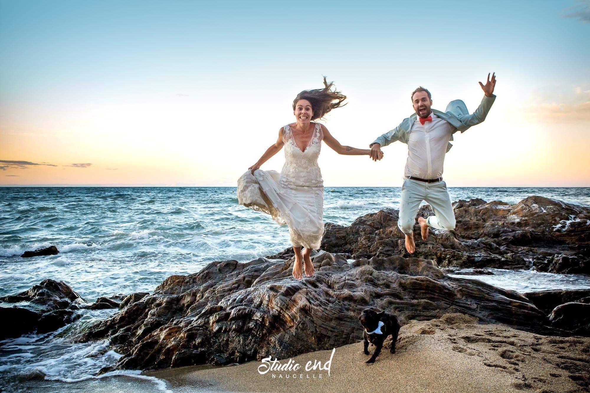Photo de couple à la plage Mariage sur côte d'azur Studio End