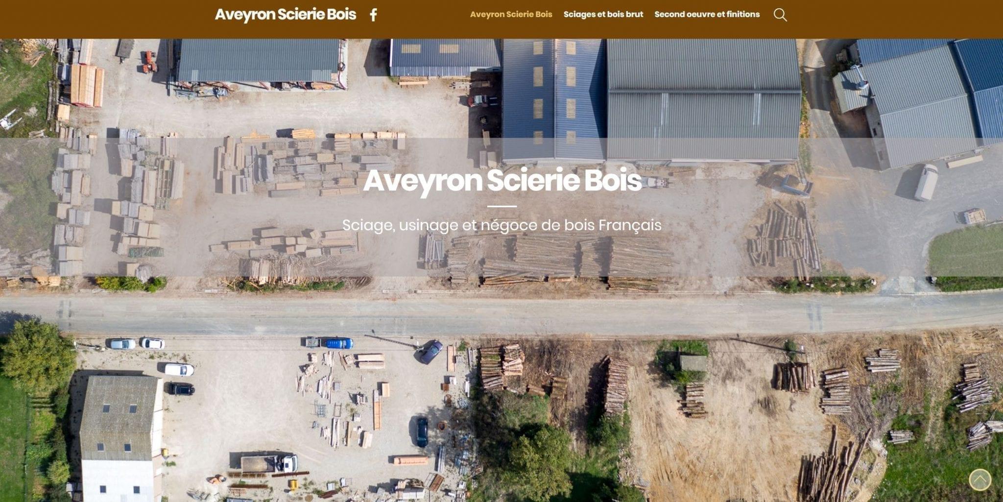 Vue aérienne réalisée pour la création du site de l'entreprise Aveyron Scierie Bois à Naucelle en Aveyron