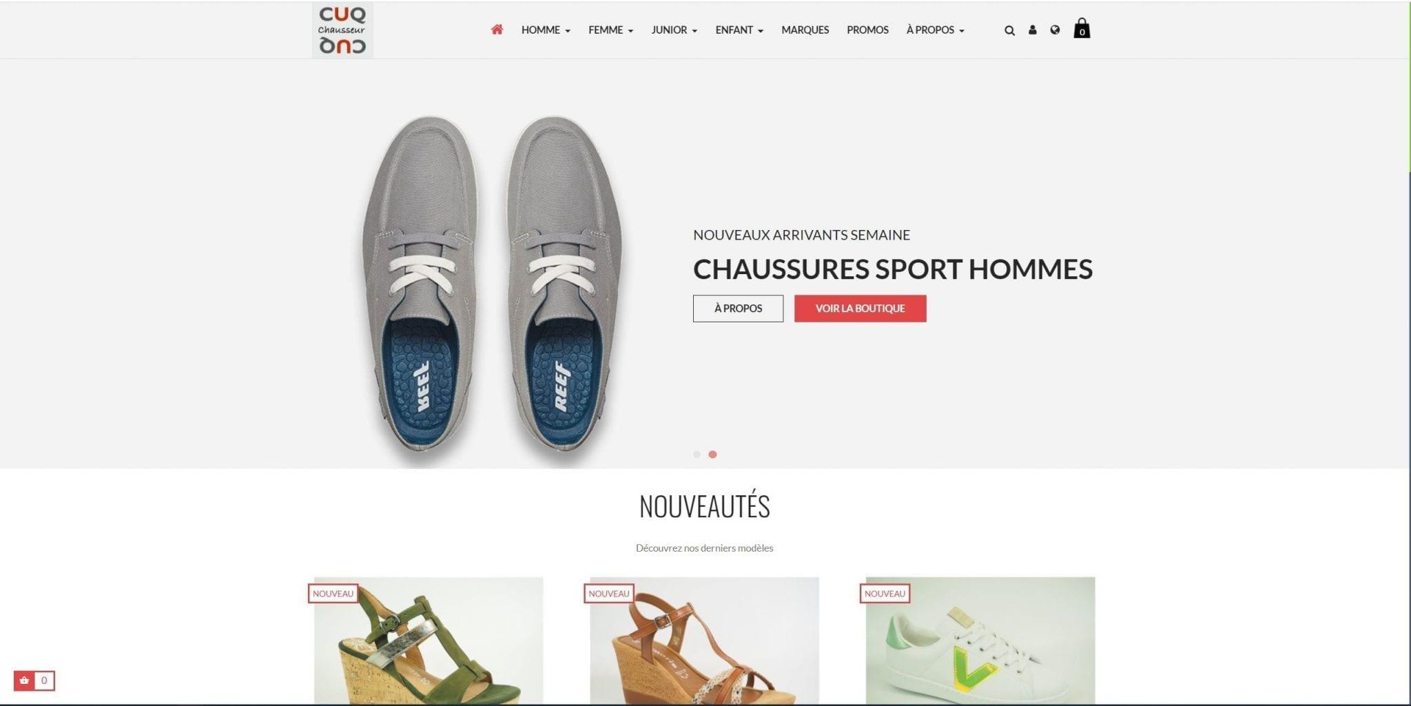 Site marchand pour vendre des chaussures pour Cuq chausseur à Millau, Villefranche de Rouergue et Albi
