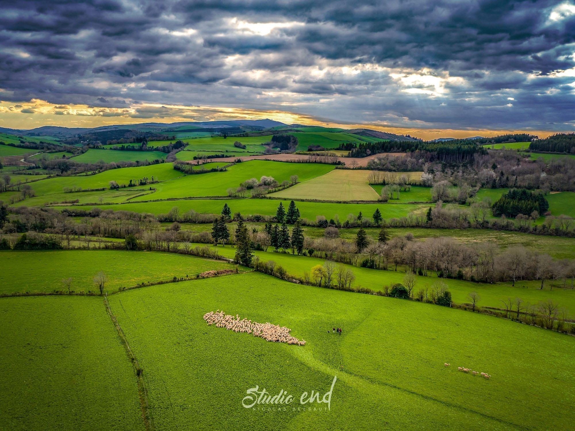 Photographie aérienne grace à un drone campagne du Tarn proche d'Albi